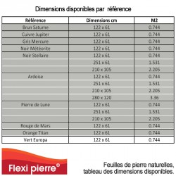 Table des dimensions dans toutes les références de Flexi-Pierre