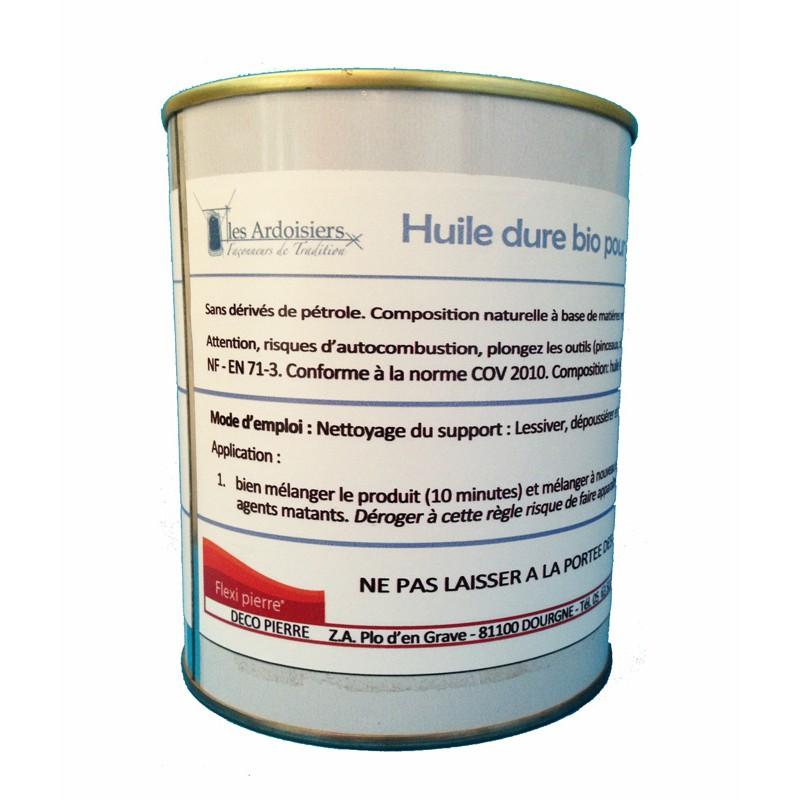 Huile dure bio oléofuge & hydrofuge, spéciale pour ardoise et schistes PORT COMPRIS Pot 1 de litre (30 M²)