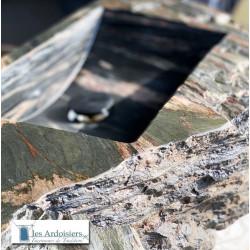 Vasque massive en ardoise d'Allassac (19) Taillée main. PIECE UNIQUE