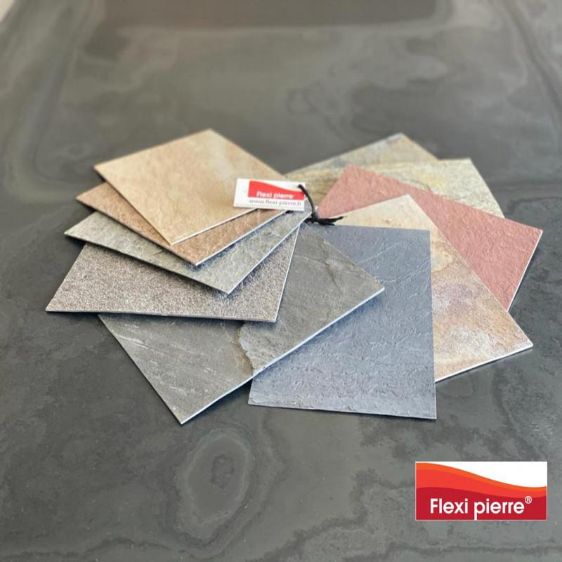 Nuancier format A5 des 12 références de feuilles de pierre Flexi Pierre