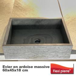 Evier en ardoise massive 60x45x18 cm